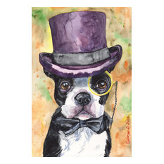 """""""Intelligent Boston Terrier"""" Painting Print on Wrapped Canvas"""