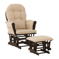 Glider & Ottoman in Espresso Finish with Beige Cushion