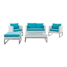 White 5-Piece Poly Rattan Garden Lounge Set, Turquoise