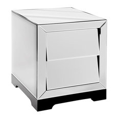 Solitaire Mirrored Bedside Table, 2 Drawers