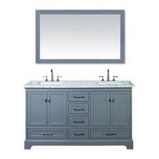 """Newport Gray 60"""" Double Sinks Bathroom Vanity With Mirror"""