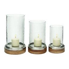 "Metal Glass Wood Hurricanes, 3-Piece Set, 13"", 11"", 9"""