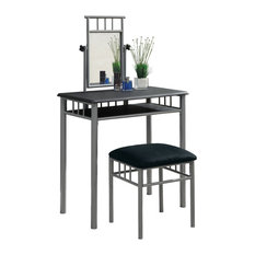 Vanity Set, 2-Piece Set, Black, Silver Metal