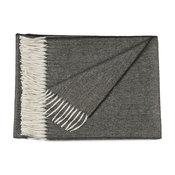 100% Pure Baby Alpaca Eco Herringbone Sofa Throw Blanket, Charcoal