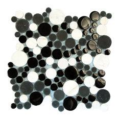"12.2""x12.2"" Agata Circle Mosaic Glass Tiles, Set of 10, Black"