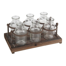 """Privilege Natural Finish Small Wood 6 Glass Bottle Crate, 12.5""""x7.5""""x7"""""""