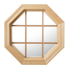 Large Cabin Light 4 Season Wood Window With Grille, Clear Insulated Glass