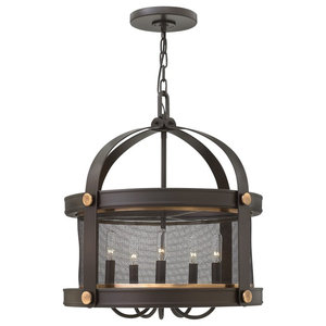 Industrial 5-Light Chandelier, Buckeye Bronze