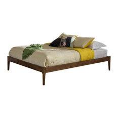 Baxton Studio Bentley Walnut Finishing Solid Wood King Bed Frame
