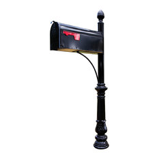 Steel Mailbox Post With Corinithian Cast Base, Bar Bracket and Acorn Top