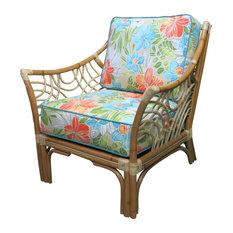 Bali Arm Chair in Natural, Aqua Fabric