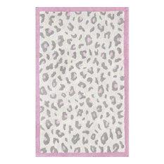 "Cheatico Pink Animal Print Kids Area Rug, Cream/Gray/Pink, 2'8""x4'8"", China"