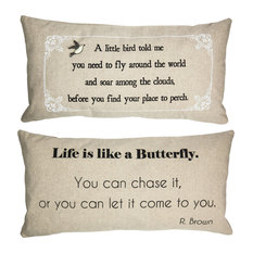 Motivational Quote Pillow for Her With Removable Bird and Butterfly Pins