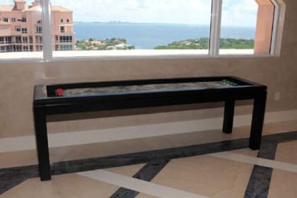 Solid Wood Leather Gutters Modern Shuffleboard Table   Products