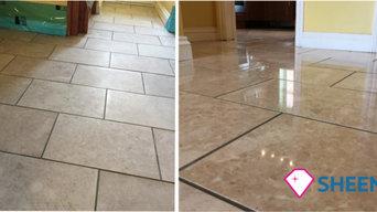 Polished marble floor restoration
