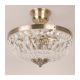 Ancosta Antique Brass Flush Ceiling Light with Crystal Glass