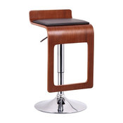 Murl Walnut and Black Modern Bar Stools, Set of 2