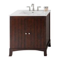 "Ronbow Hampton Solid Wood 30"" Vanity Set With Ceramic Sink Top"