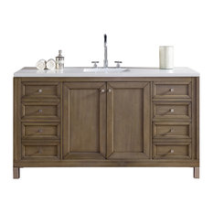 "Chicago 60"" White Washed Walnut Single Vanity 3CM Snow White Quartz Top"