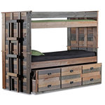 """Sleep and Play USA - Morgan Creek Combo Bunk Bed, Twin Over Twin - Our Morgan Creek Combo Bunk Bed is built of solid pine stained in a unique Multi Color finish with no varnish applied. At a later date, it can be separated and reconfigured into 2 beds. The trundle/combo unit will tuck conveniently under the bed when not in use. Includes: top and bottom beds, 3 drawer twin trundle/combo unit, 2 full length guardrails, attached ladder, and Euro-slats. 41""""W x 78""""L x 67""""H. Made in the USA. Weight Limit: 400 lbs"""