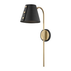 Meta LED Wall Sconce with Plug - Aged Brass - Black Accents