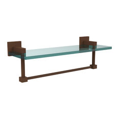 "Montero Collection 16"" Glass Vanity Shelf With Integrated Towel Bar"