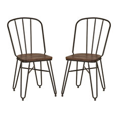 """Industrial Steel Dining Chair With Elm Wood Seat, Set of 2, 34.25 """"H"""