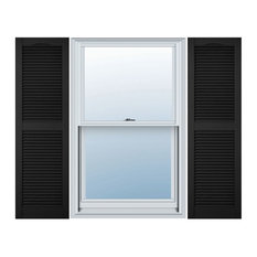 """14 1/2""""W x 55""""H Standard Size Cathedral Open Louver Shutter, Black"""