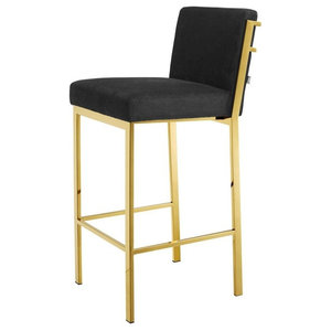 Groovy Leather Stool With Gold Foot Caps And Footrest Bar Short Links Chair Design For Home Short Linksinfo