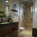 Leonardo Travertine Tiles Beach Style Bathroom Tampa