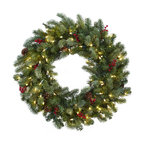 Lighted Pine Wreath with Berries and Pine Cones