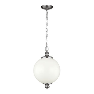 Parkman Period-Inspired Pendant, Polished Nickel, Large