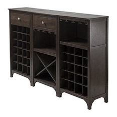 Winsome - Winsome Wood Transitional Ancona 3-Piece Wine Cabinet, Espresso Finish - Wine and Bar Cabinets