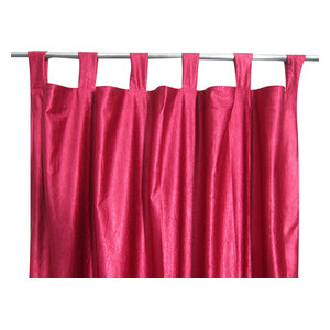 Mogul Interior - Consigned Maroon Tab Top Sari Curtain / Drape / Panel - Curtains