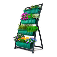 Modern Elevated Garden Bed, Vertical Design With 4 Containers, Forest Green