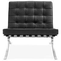 Barcelona Style Lounge Chair - Top Grain Premium Italian Leather - Black