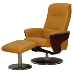 ARTIVA USA - Milano Modern Bentwood Swival Recliner with Ottoman, Mikado.Artiva USA - MILANO-An Artiva USA exclusive. Kick back in this comfortable Mikado Yellow Bond leather, curved bentwood arm and padded armrests provide comfort and style. Featuring a smooth reclining and swivel system. Relax with this Comfortable Smooth Modern Mikado Yellow Bond Leather swivel recliner and ottoman set form Artiva USA . The neutral hues make this recliner perfect addition to any home or office.  US Patent Pending Design.