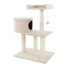 """3-Tier Cat Tree 31"""" White Plush Cat Tower With Scratching Posts and Bed"""