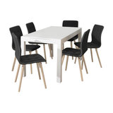 Angala Dining Table And Fridi Chairs, Dark Grey Fabric, 6 Chairs