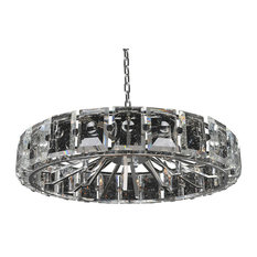 "Kalco, Giada Faceted 39"" Pendant, Stainless Steel"