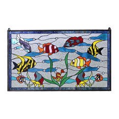 "Fish under the Sea Handcrafted stained glass clear window panel. 34.5"" x 20.5"""