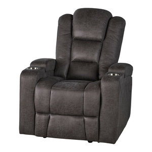 Brilliant Gdf Studio Everette Brown Leather Power Recliner With Arm Pdpeps Interior Chair Design Pdpepsorg