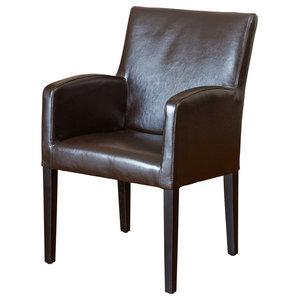 GDF Studio Byron Brown Leather Arm Chair