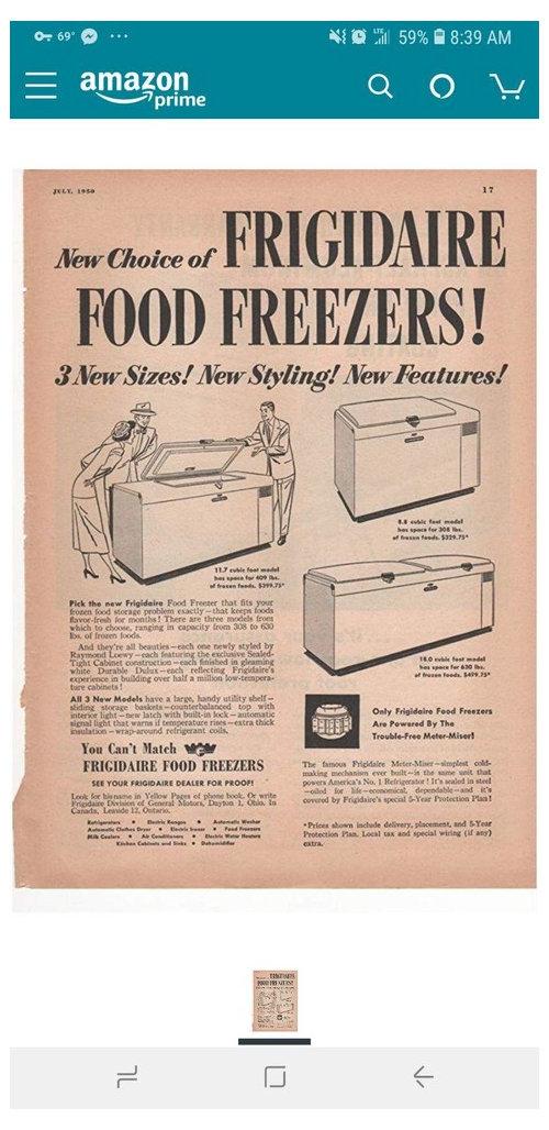 1950s General Motor Frigidaire Deep Freezer Still Works