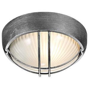 Black/Silver Die Cast Aluminium Outdoor Circular Bulkhead Porch or Wall Light