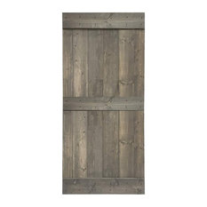 """Stained Solid Pine Wood Sliding Barn Door, Weather Gray, 36""""x84"""", Mid-Bar"""