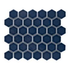 "12.5""x11.25"" Hudson Due 2"" Hex  Porcelain Mosaic Tile, Marine Denim"