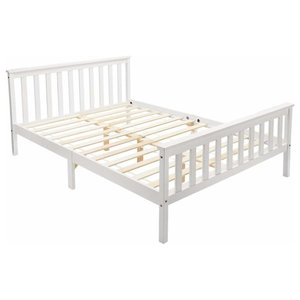 Traditional Double Bed, White Finished Wooden Frame and Slats for Great Comfort
