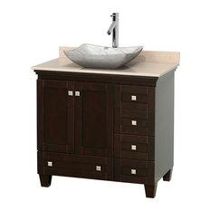 "36"" Single Bathroom Vanity in Espresso, Ivory Marble Countertop, Sink"