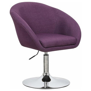 Contemporary Bar Stool Upholstered, Linen Fabric, Adjustable Height, Purple